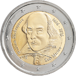2 Euro 19 2016 400.Todestag von William Shakespeare